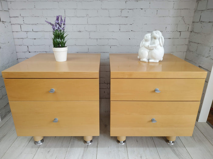 Vintage Beech Pair Bedside Tables, Cabinets, Drawers - Retro Mid Century Modern