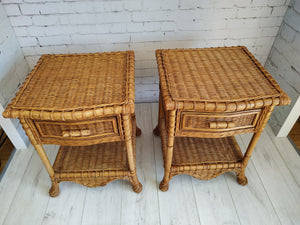 Vintage Pair Bedside Tables, Cabinets, Drawers - Retro Rattan Cane Bamboo Bohemian