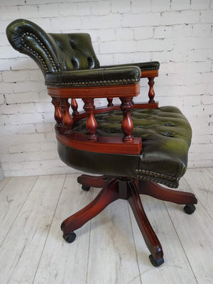 Chesterfield Antique Green Luxury Captains Chair Leather Vintage Swivel & Tilt