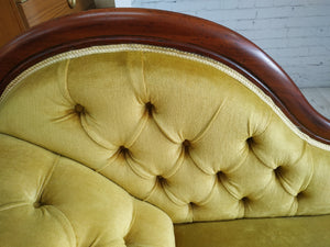 Victorian Chaise Longue Antique Day Bed Sofa Gold Dralon Upholstery