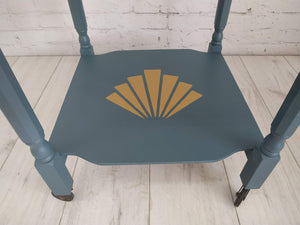 Upcycled Vintage Drinks Trolley Painted Blue Gold Stencil Detail