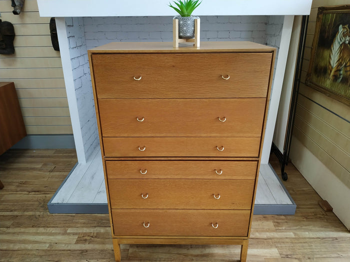1960's Tallboy Chest of Drawers by Stag John & Sylvia Reid Oak Vintage