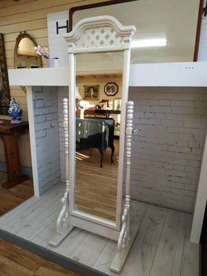 Vintage Cheval Mirror Full Length Pearlised Paint Frame