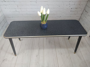 Mid Century Modern Coffee Table Black & Gold Melamine Retro Vintage