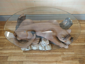 Vintage Coffee Table Glass Top Mountain Lion Base 1960