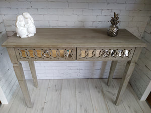 Console Table Natural Wood Mirrored NEW