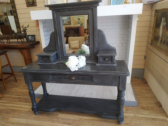 Vintage Solid Pine Grey Shabby Chic Hall Console Table + Mirror