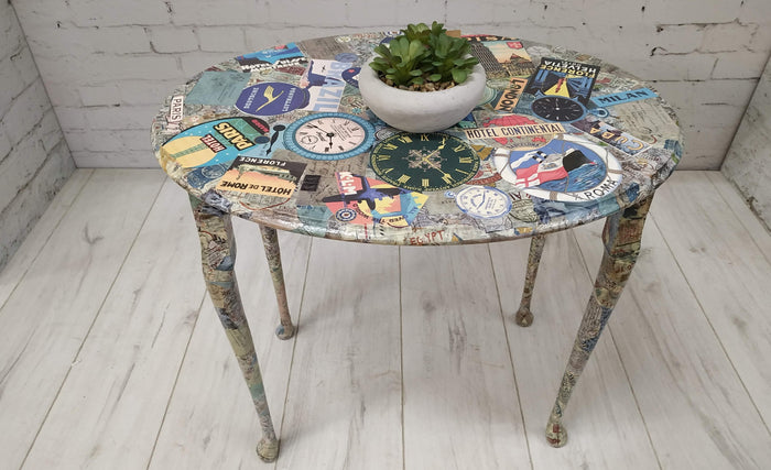 Vintage Decoupage Side or Coffee Table Hallway Retro Around The World Table
