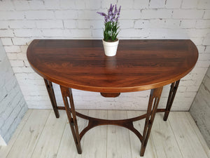 Demi Lune Hallway Console Table Rosewood & Oak Tapered Legs