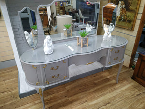Vintage Dressing Table French Country Style Painted Grey & Gold + Triple Mirror
