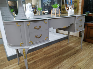Vintage Dressing Table French Country Style Painted Grey & Gold + Tallboy Set