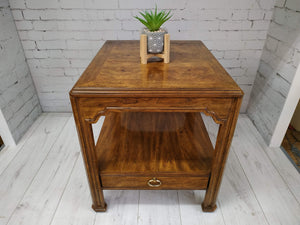 Vintage Drexel Hall Table Console Burl Wood Parquetry