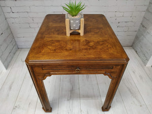 Vintage Drexel Heritage Sketchbook Hall Side Table Console Burl Wood Parquetry