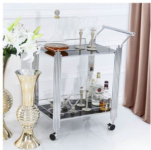 Modern Drinks Trolley Gin Bar Tea Chrome Frame Black Glass Vintage Art Deco NEW