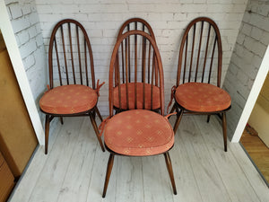 Vintage Ercol Windsor Quaker Dining Chairs x 4 - Elm Mid Century - Free Cushion Pads