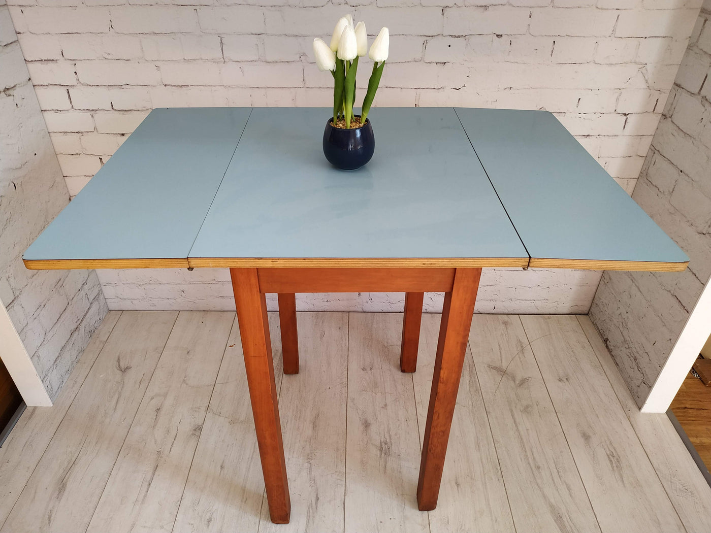 Blue Formica Vintage Kitchen Table  Drop Leaf  Retro Table