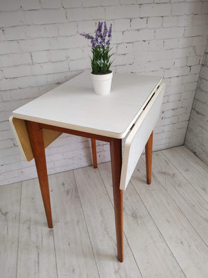 White Formica Vintage Kitchen Table | Drop Leaf | Retro Table 1960's Mid Century