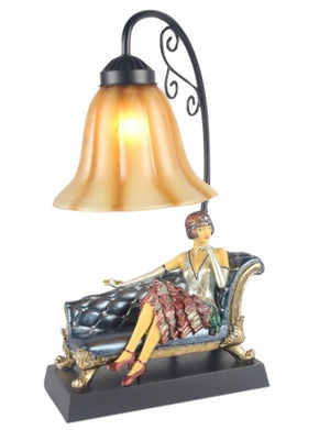 Art Deco Nouveau Gatsby Lady Figurine Sitting Table Lamp Vintage Glass Shade NEW