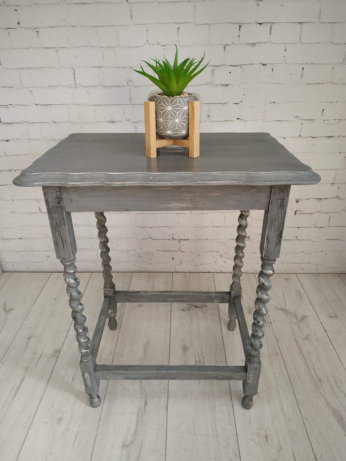 Vintage Grey Shabby Chic Hall Table Console Table Plant Stand Antique