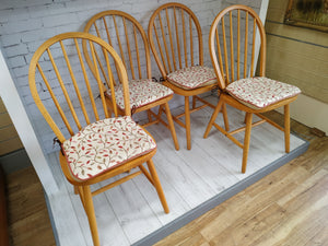 Antique Vintage Ercol Style Hoop Back Dining Chairs 1960's x 4 Beech Free Cushions