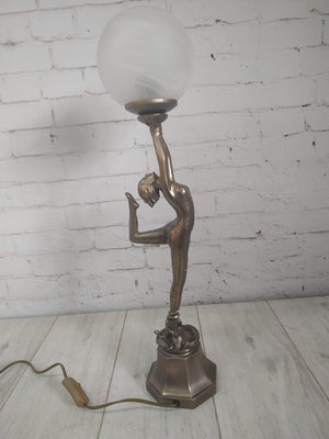 Art Deco Nouveau Dancing Lady Figurine + Table Lamp Vintage Glass Shade NEW