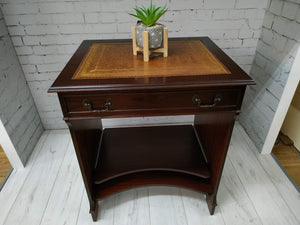 Antique Style Leather Top Mahogany Computer Desk Vintage Writing Desk Laptop