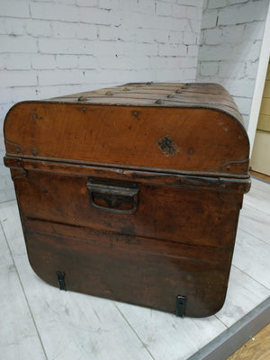 Victorian Steel Steamer Trunk Retro Antique Travel Trunk Chest Storage Coffee Table Prop
