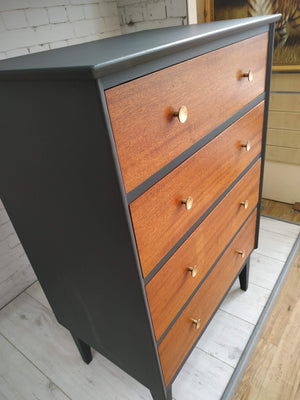 Mid Century Solid Wood Chest of Drawers Danish Style Upcycled Refurbished Tallboy Grey