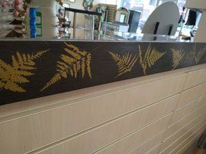 Mirror Very Large Vintage Crackle Glazed 138cm x 108cm Leaf Fern Gold Stencil