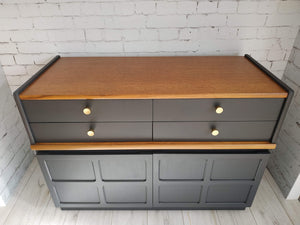 Mid Century Nathan Teak Sideboard Painted Ash Grey 4 Drawers