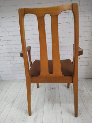 6 x Nathan Dining Chairs + Carvers Vintage Retro Seats Teak