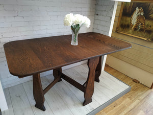 Vintage Country Dining Table Dark Solid Oak Gate