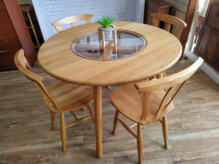 Vintage Pine Kitchen Dining Table & 4 Chairs Glass Dining Table 1970 Mid Century