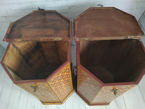 Vintage Indian Rajasthani Storage Boxes Solid Wood Hand Painted Decorative Pair