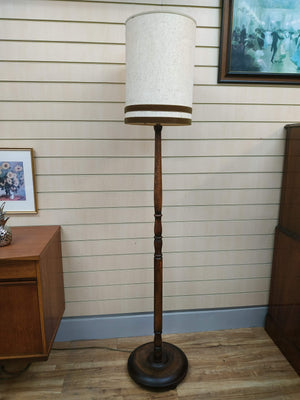 Vintage Floor Lamp Oak Stand and Base Antique Light 1930's Retro + Lampshade