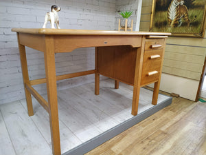 Teachers Vintage Oak Wooden Desk Abbess Home Office 1950's Refurbished