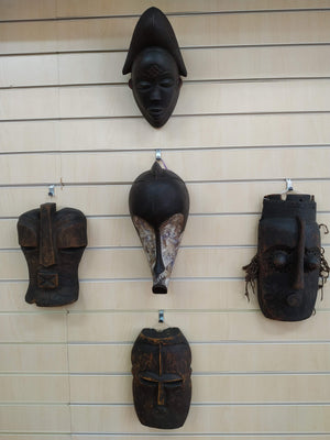 Antique Large Punu Gabon Tribal Masks Vintage Decorative Art Set of 5