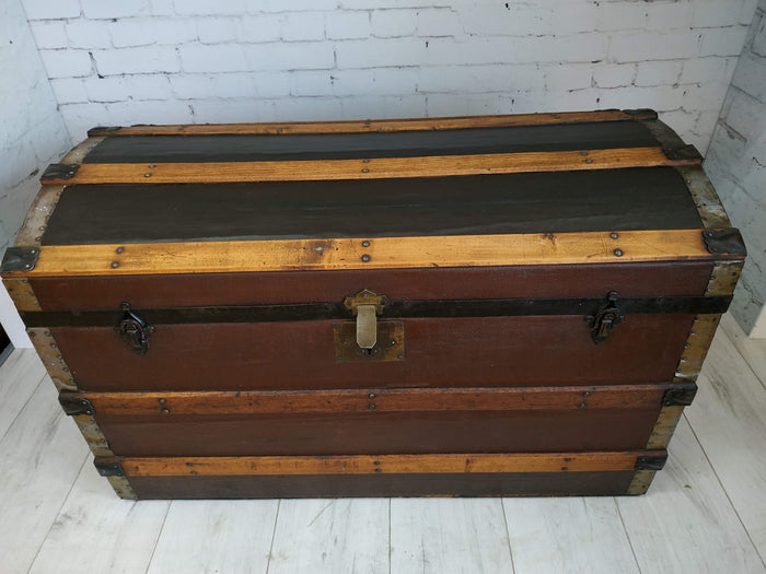 Large Vintage Dome Topped Cabin Trunk Metal Wood Bound Pirate Antique Trunk 1930