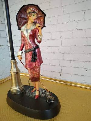 Art Deco Nouveau Gatsby Lady Figurine + Dog Table Lamp Vintage Glass Shade NEW