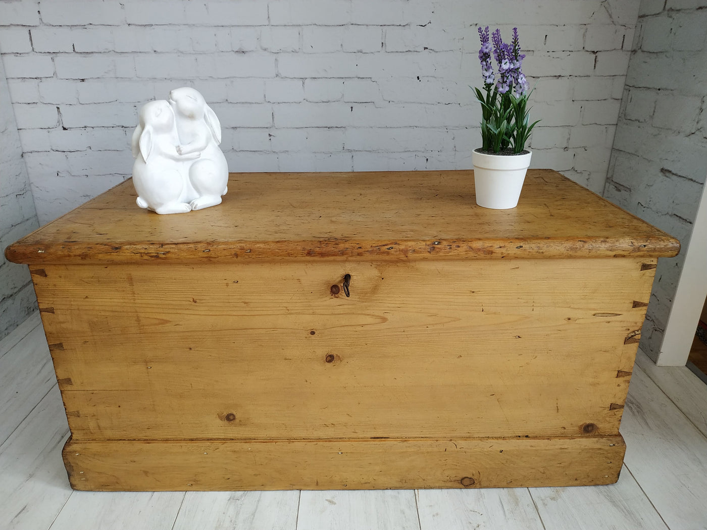 Antique Victorian Vintage Old Pine Chest Coffee Table Trunk Blan Retronovia