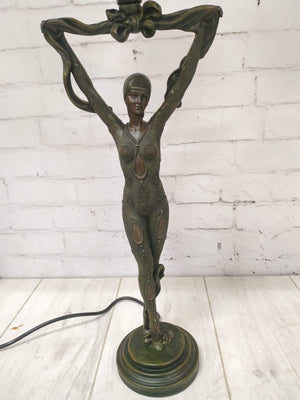Vintage Pair of Art Deco Nouveau Table Lamps of Dancing Ladies Figurines