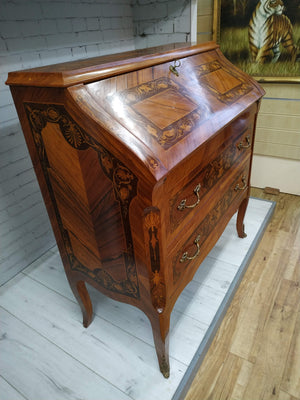 Italian Style Marquetry Writing Bureau Desk Antique Storage