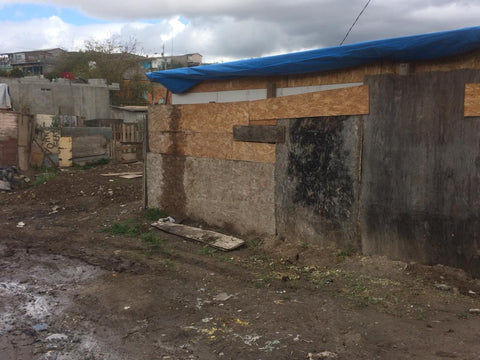 An impoverished neighborhood in the Tijuana, Mexico area with dilapidated homes