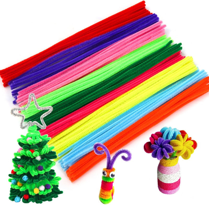 100pcs Multicolour Chenille Stems Pipe Cleaners - Weelands
