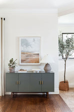 Load image into Gallery viewer, Ikea Hack. Stockholm Sideboard. Caldwell Green by Benjamin Moore. Fields of Color wall art. Wendover Art. Yellow Fields. California casual design. Landscape art for the home. How to choose art for the home. Customizable art. Elsie Home.