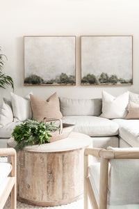 Create a relaxed living room with Forest Landscape.  Forest Edge. Wendover Art. Landscape art. Landscape painting. Wall decor. California casual wall decor. Diptych. Set of two landscape paintings.