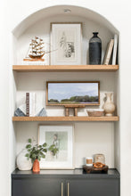 Load image into Gallery viewer, Arched bookshelves with floating shelves. Styled bookshelves. Wendover Art. Figure of a Girl art.  Painting of a girl. Styled floating shelves. Styling open shelves. Arched bookshelves. California casual decor. California casual style. Charcoal sketch artwork.