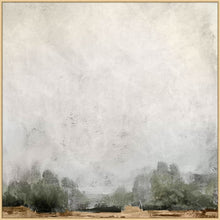 Load image into Gallery viewer, Forest Landscape. Forest Edge. Wendover Art. Custom wall art. Elsie Home. Landscape art. Landscape paintings. Pair of two landscape paintings with gray at the top and green at the bottom.
