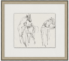 Load image into Gallery viewer, Charcoal sketch artwork, charcoal sketch of horses, horse artwork, Wendover Art, Elsie Home, Horse Tamers, customizable art, custom framed art, California Casual