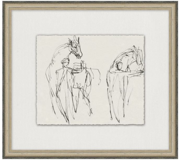 Charcoal sketch artwork, charcoal sketch of horses, horse artwork, Wendover Art, Elsie Home, Horse Tamers, customizable art, custom framed art, California Casual